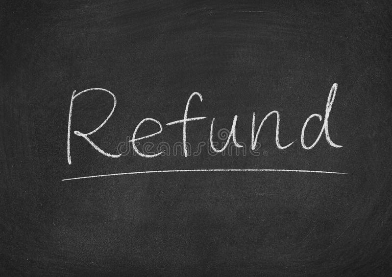 Refund. Concept word on a blackboard background stock images