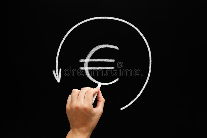 Refund Euro Arrow Concept Blackboard. Hand sketching Euro sign in arrow circle with white chalk on blackboard. Refund concept royalty free stock photography
