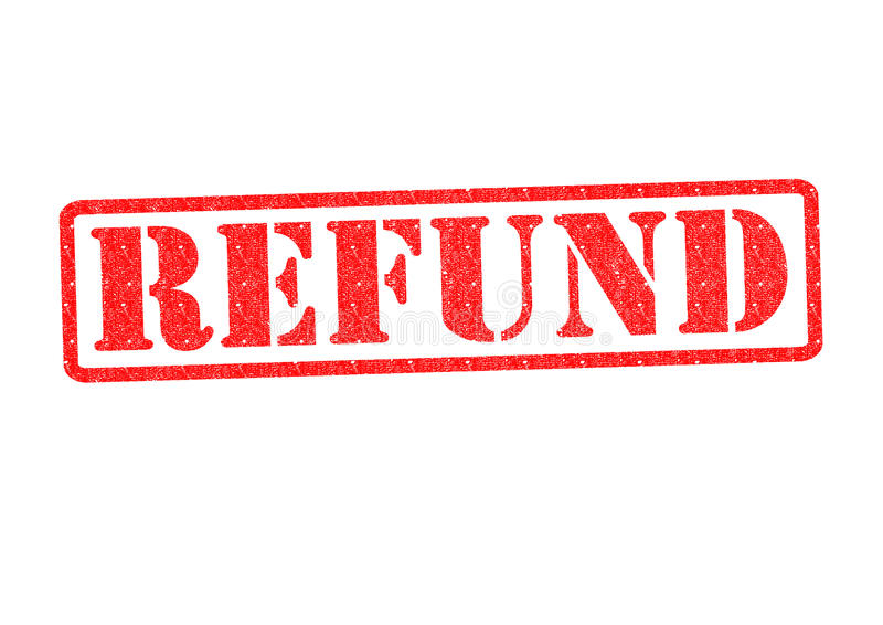 REFUND Rubber Stamp. Over a white background stock images