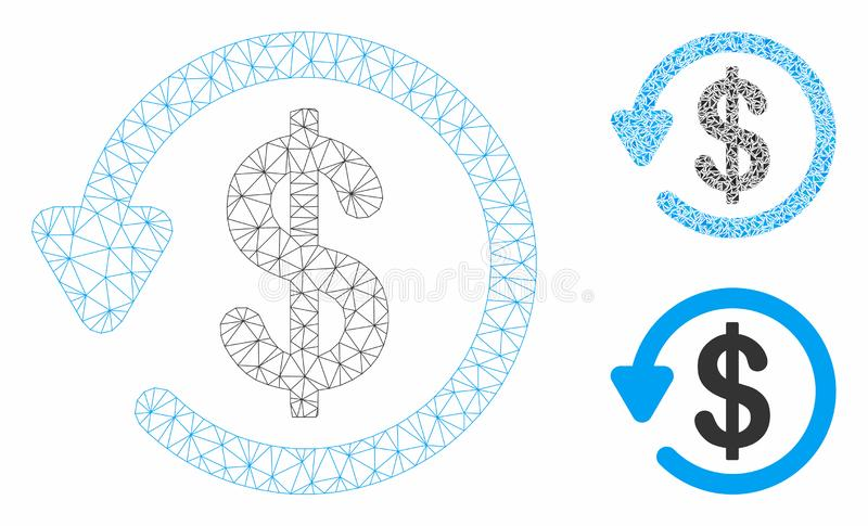 Refund Vector Mesh Carcass Model and Triangle Mosaic Icon. Mesh refund model with triangle mosaic icon. Wire carcass triangular mesh of refund. Vector mosaic of royalty free illustration