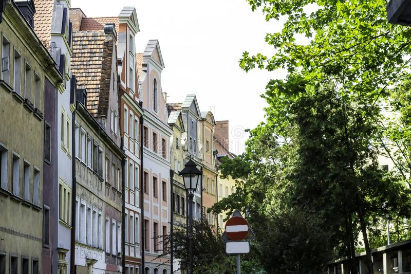 Refurbished buildings. Facades of buildings around the market square. royalty free stock photo