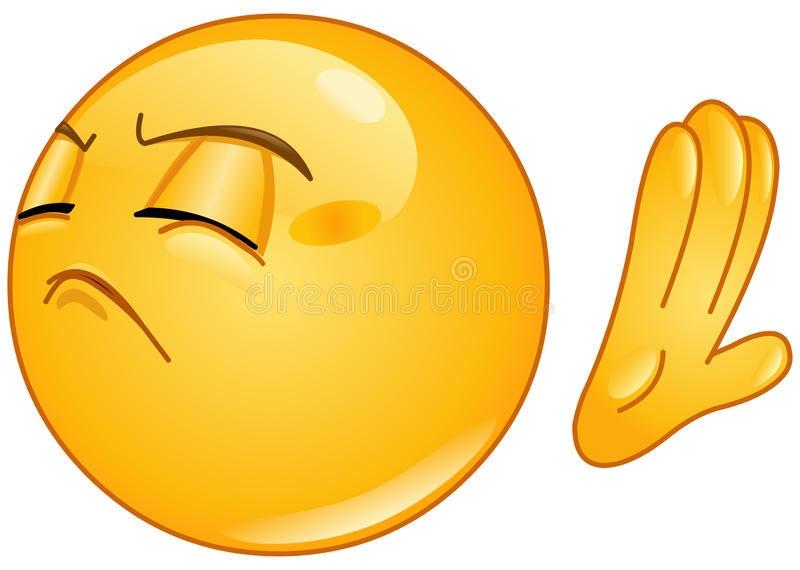 Refuse emoticon. Design of an emoticon making deny sign