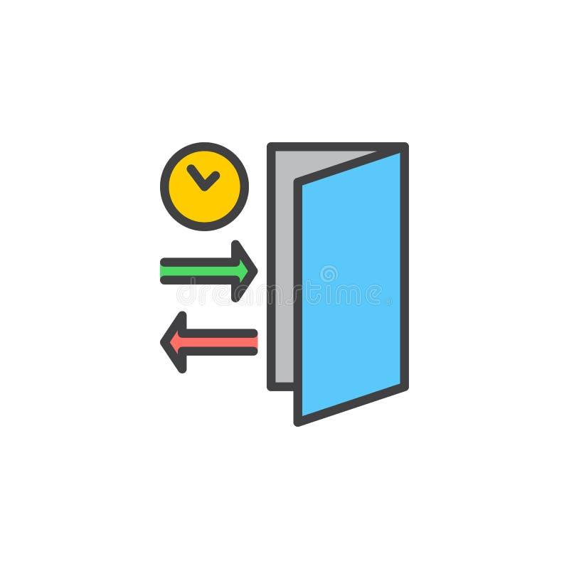 Regístrese, línea icono, muestra llenada del vector del esquema, pictograma colorido linear de la comprobación aislado en blanco ilustración del vector