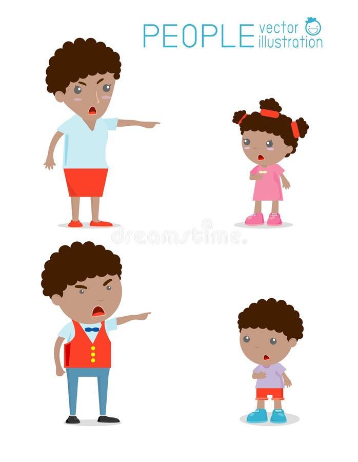 Regañe los niños, el padre y a la madre regañando al muchacho infeliz ilustración del vector
