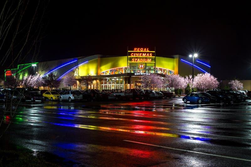 Regal Cinemas Stadium 11 in Salem, Oregon. At spring rainy night
