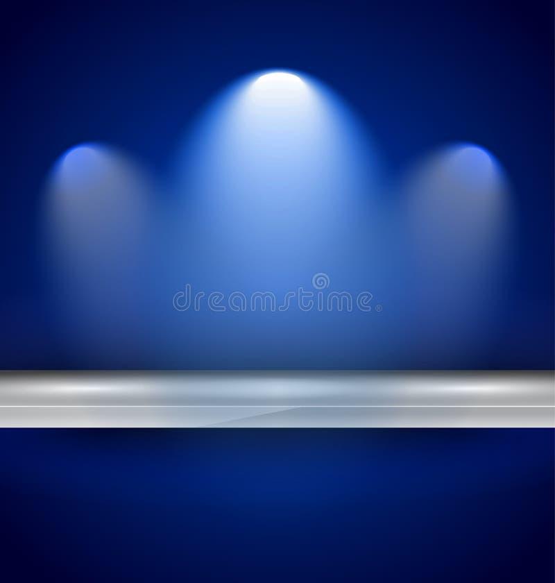 Regal mit für Produkte zu verwenden den Scheinwerfern, stock abbildung