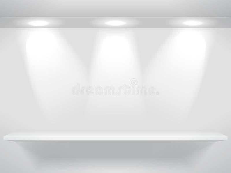 Regal mit Leuchten lizenzfreie abbildung