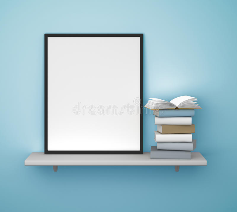 Regal mit Rahmen und Buch vektor abbildung