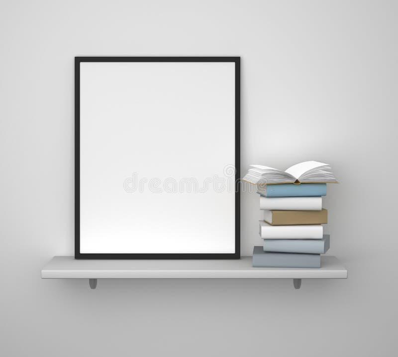 Regal mit Rahmen und Buch stock abbildung