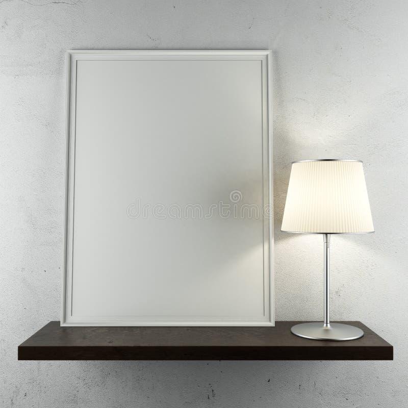 Regal mit Rahmen und Lampe vektor abbildung
