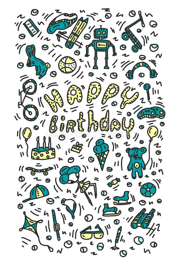Regali di compleanno Elementi dipinti ed iscrizione luminosa positiva Le palle del contenitore di regalo del binocolo della passa royalty illustrazione gratis