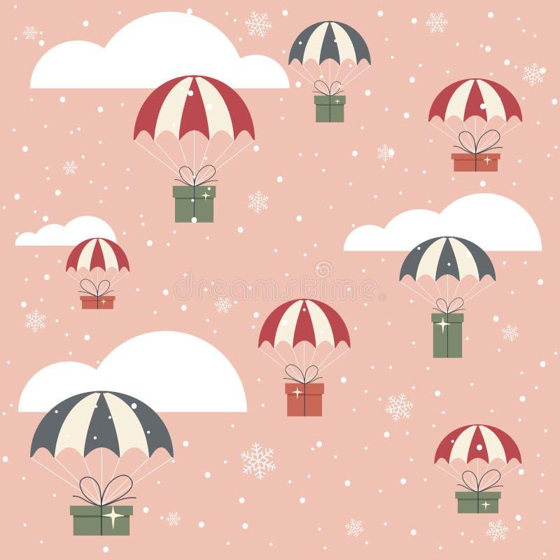 Regali di Natale con il paracadute su fondo rosa illustrazione vettoriale