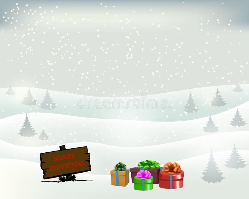 Regali di Natale con una ghirlanda ed i contenitori di regalo Illustrazione di vettore royalty illustrazione gratis