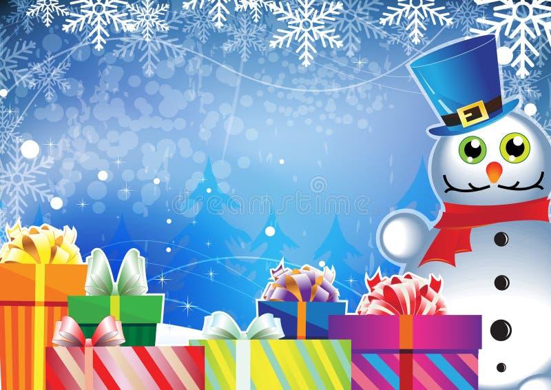 Regali di natale e del pupazzo di neve illustrazione di stock