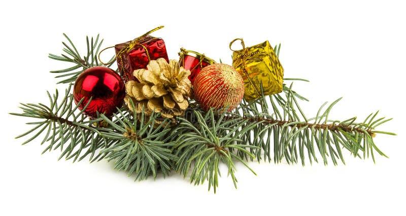 Regali di Natale e giocattoli isolati su fondo bianco fotografia stock libera da diritti
