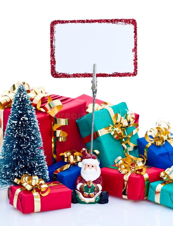 Regali di Natale e segno fotografia stock libera da diritti