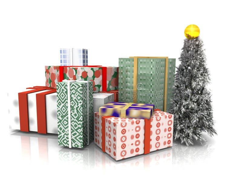 Regali di Natale ed albero illustrazione di stock
