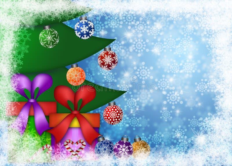 Regali di Natale sotto l'albero con i fiocchi di neve illustrazione di stock