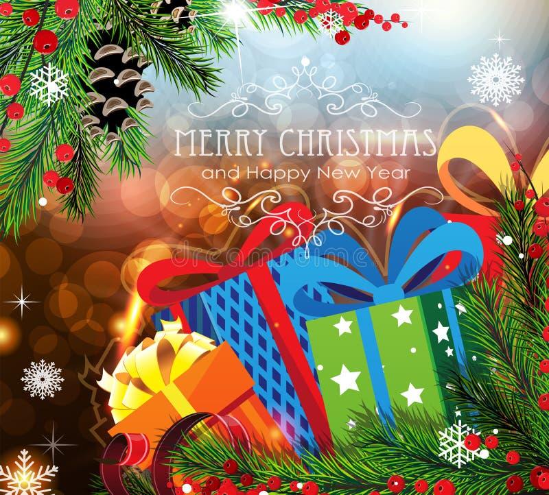 Regali di Natale su fondo scintillante illustrazione di stock