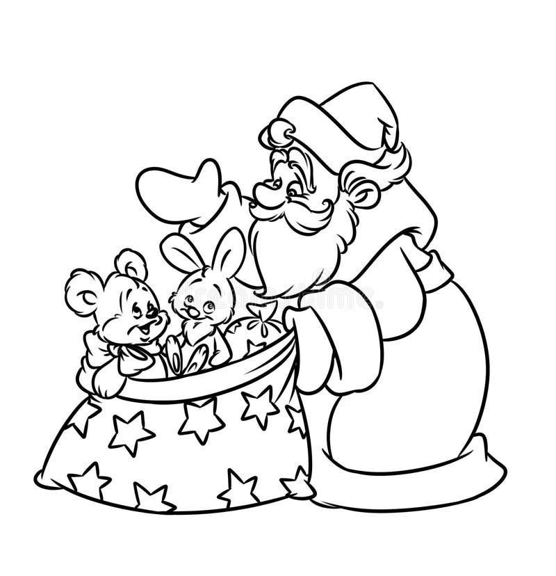 Regali di Santa di Natale che colorano pagina royalty illustrazione gratis