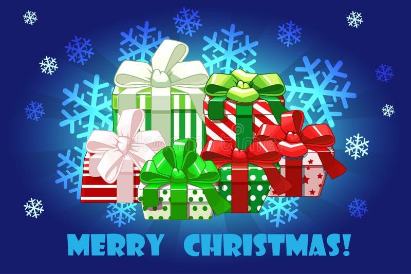 Regali differenti di Buon Natale sveglio, imballaggio creativo Fondo di vettore illustrazione di stock