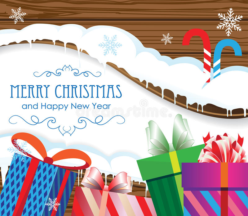Regali e bastoncini di zucchero di Natale illustrazione vettoriale