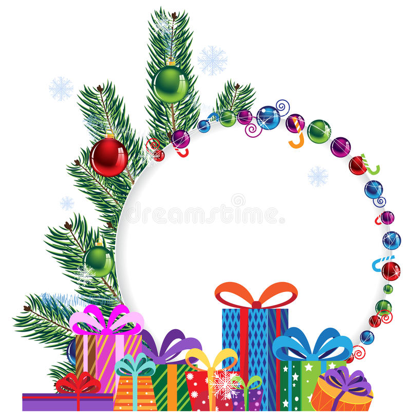 Regali ed albero di Natale luminosi illustrazione di stock