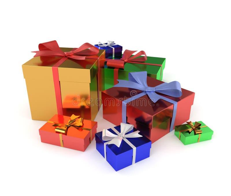 regali isolati su priorità bassa bianca immagine stock libera da diritti