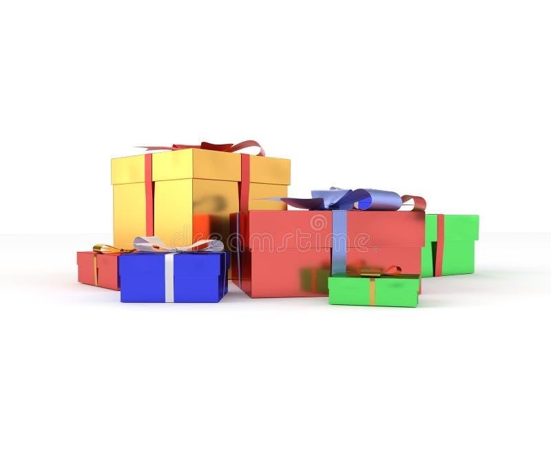 regali isolati su priorità bassa bianca fotografie stock