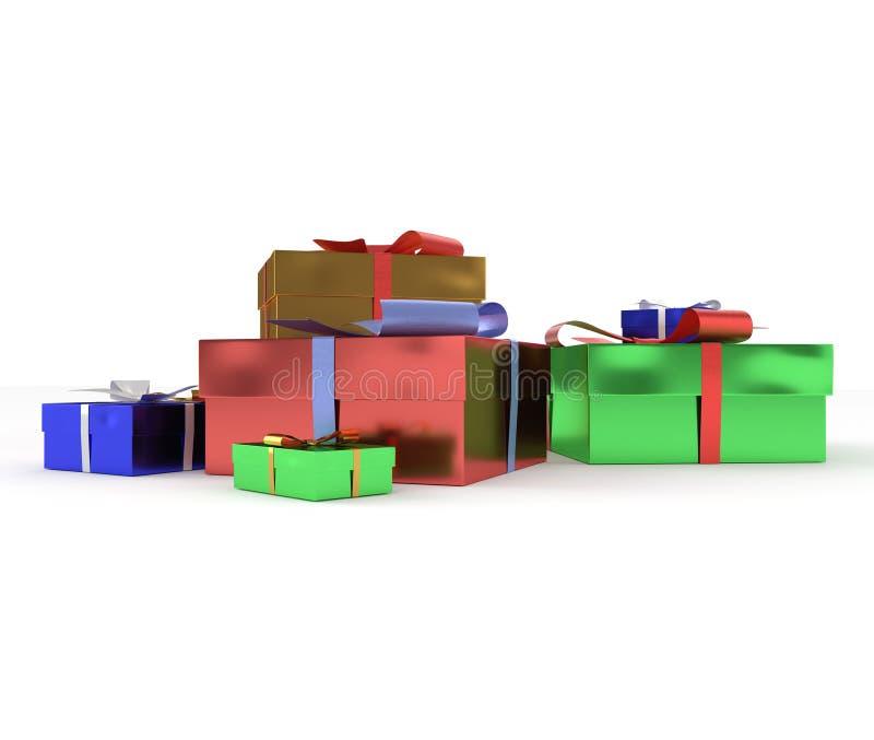 regali isolati su priorità bassa bianca fotografie stock libere da diritti
