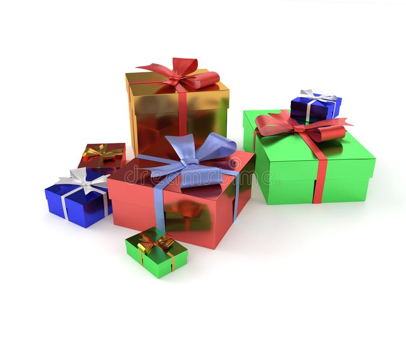 regali isolati su priorità bassa bianca fotografia stock