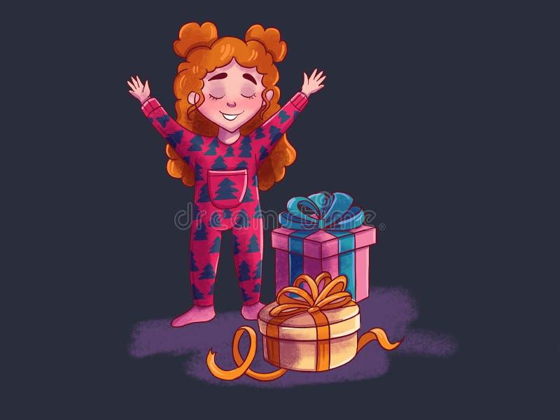 regali magici aperti vicino all'albero di Natale, miracolo della ragazza di Natale royalty illustrazione gratis