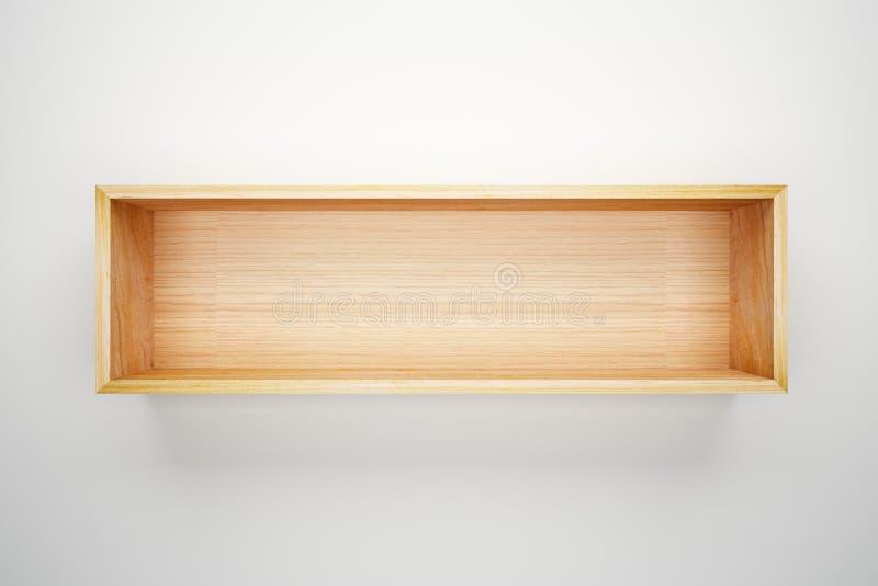 Regalkasten auf weißer Wand stock abbildung