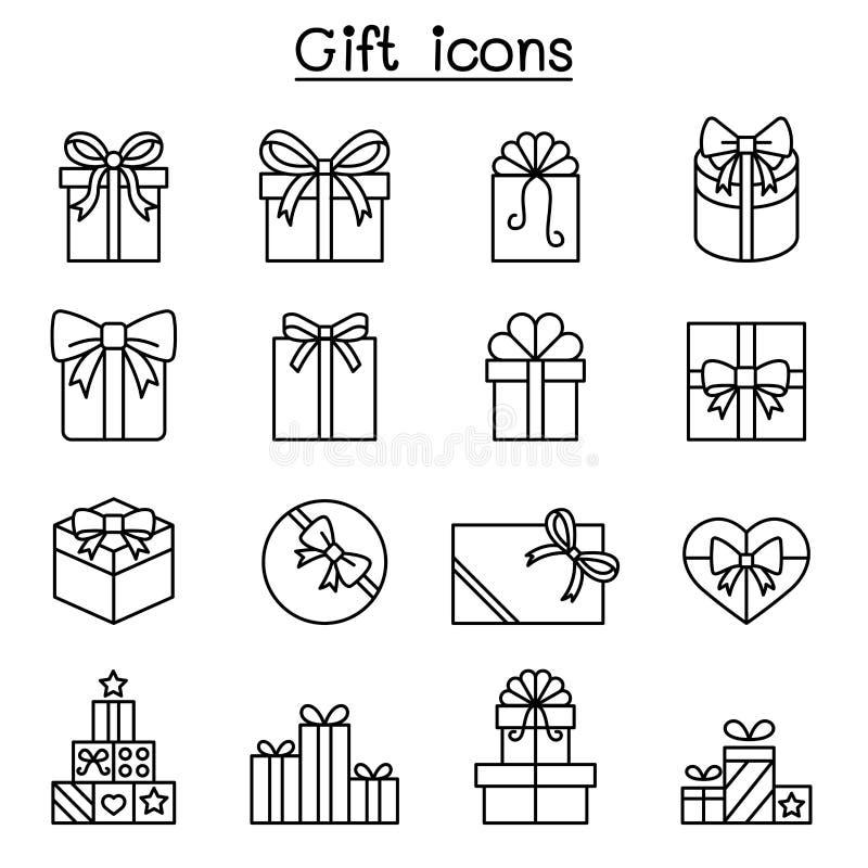 Regalo, articoli da regalo, contenitore di regalo, icona attuale messa nella linea stile sottile royalty illustrazione gratis