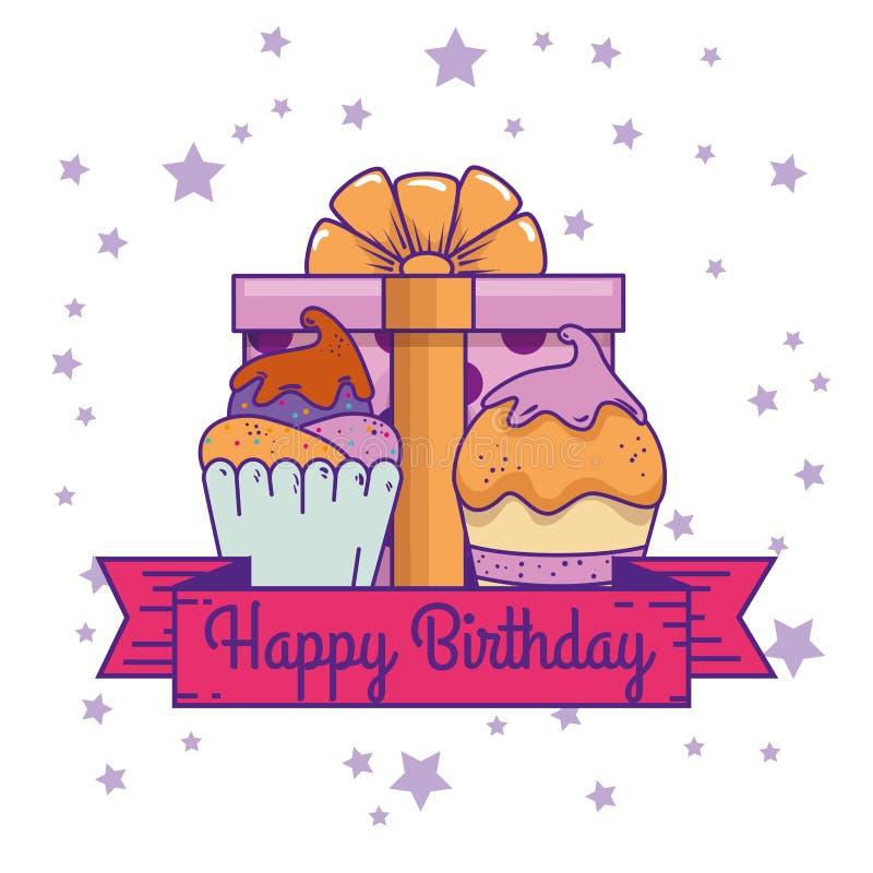 Regalo attuale con i muffin e decorazione del nastro al compleanno illustrazione di stock