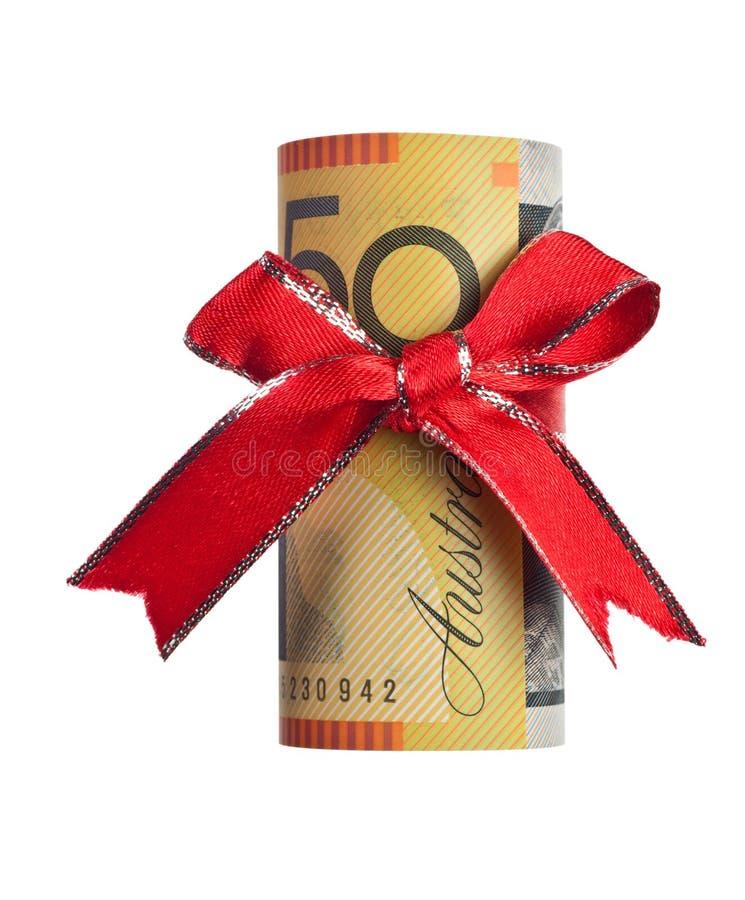 Regalo australiano del dinero imagen de archivo libre de regalías