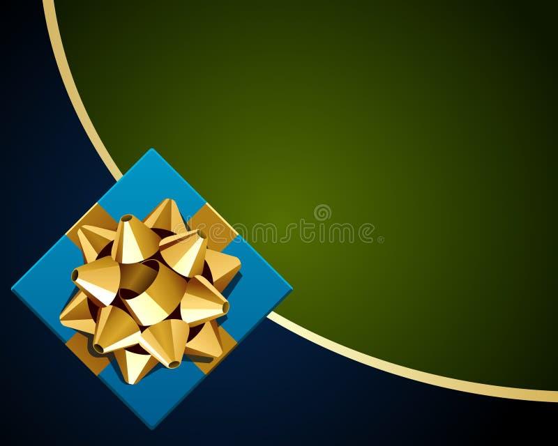 Regalo azul con el arqueamiento del oro stock de ilustración