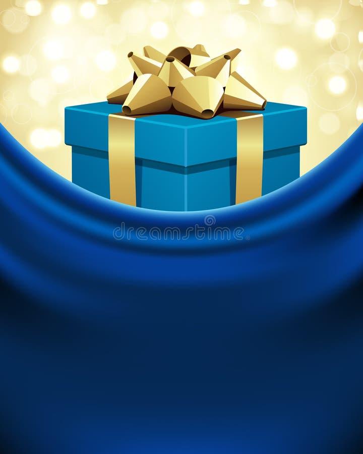 Regalo azul con el arqueamiento del oro libre illustration