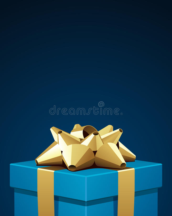 Regalo azul con el arqueamiento del oro ilustración del vector
