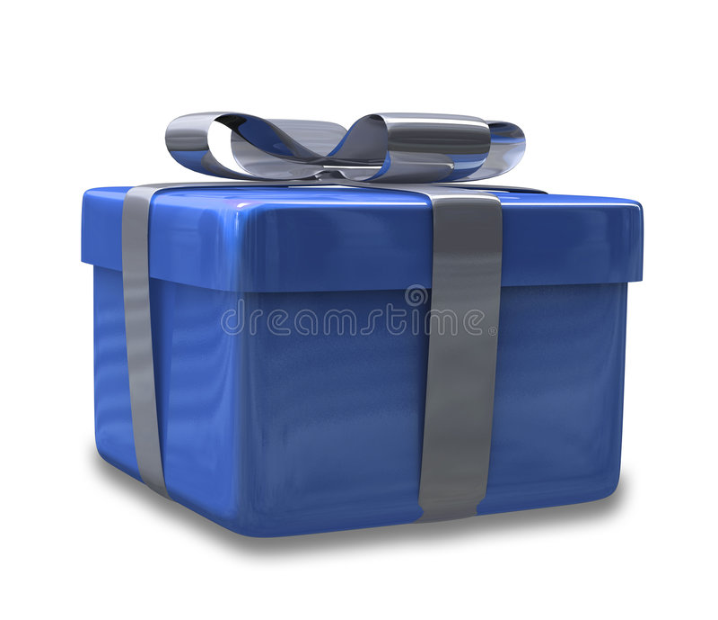 Regalo blu spostato 3D v2 illustrazione vettoriale