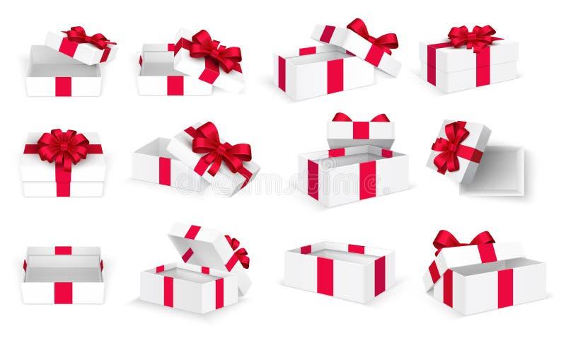 Regalo Boxes Caja vacía abierta del blanco actual con el arco y las cintas rojos Plantilla del vector de la Navidad y del día de  ilustración del vector