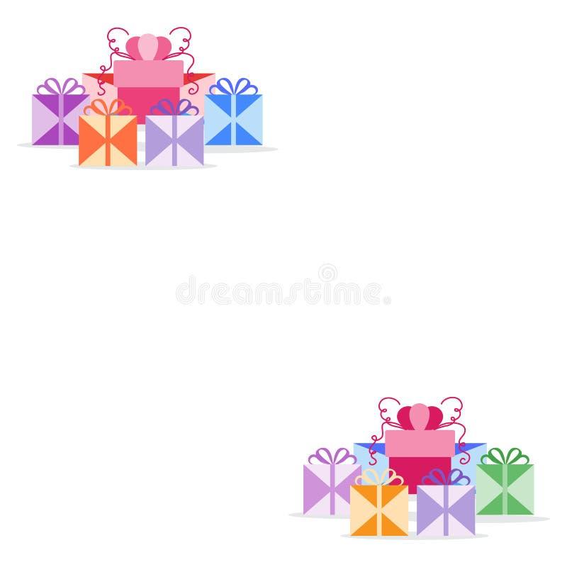 Regalo Boxes presentes Ejemplo del vector de la Feliz A?o Nuevo 2019 y de la Navidad Cumplea?os, d?a de madres Venta, concepto qu stock de ilustración
