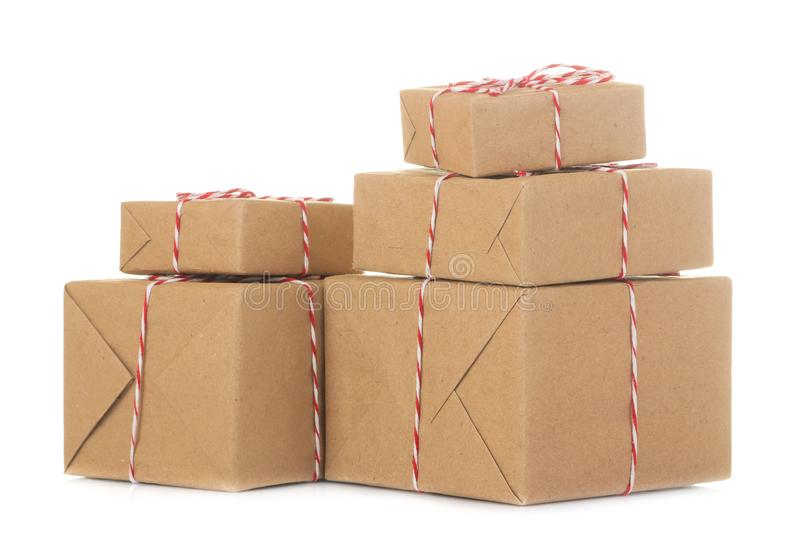 Regalo Boxes regali su un fondo isolato bianco feste Giorno del `s del biglietto di S Giorno del `s delle donne Giorno del `s del fotografie stock libere da diritti