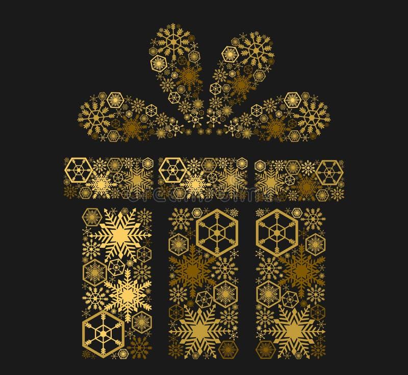 Regalo brillante de oro en fondo oscuro Ilustración libre illustration