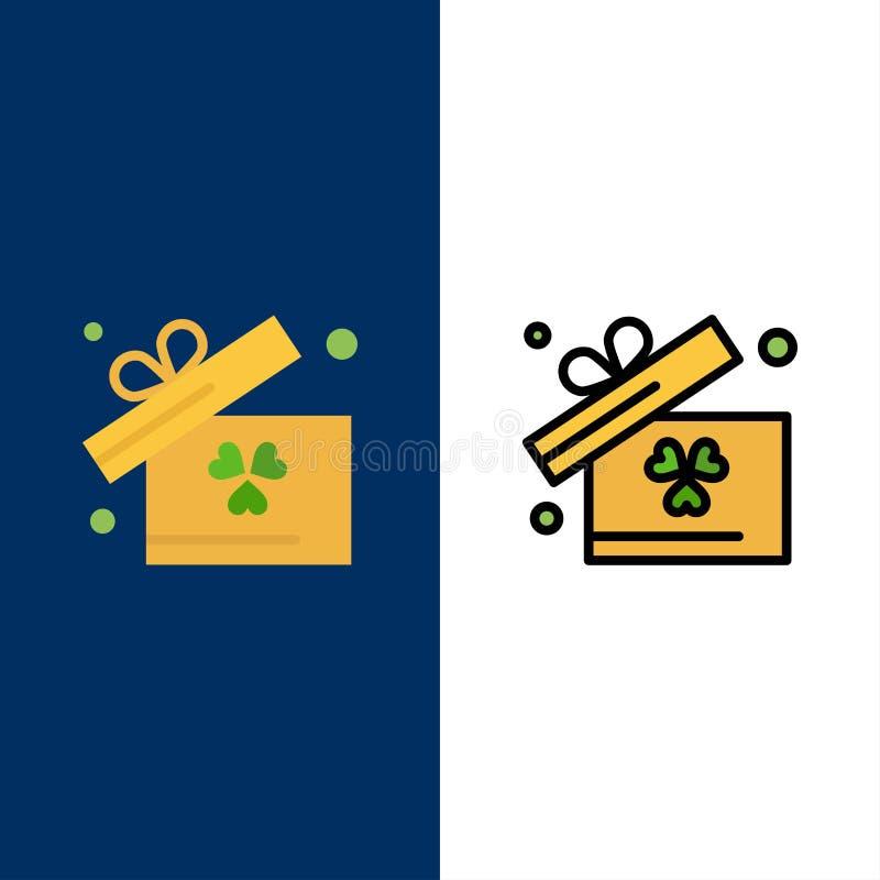 Regalo, caja, iconos de Irlanda El plano y la línea icono llenado fijaron el fondo azul del vector ilustración del vector