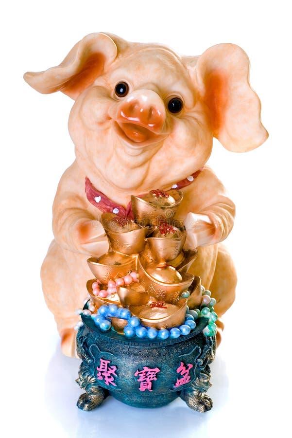 Regalo chino de cerámica del cerdo del Año Nuevo imágenes de archivo libres de regalías
