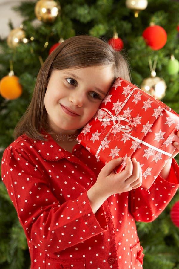Regalo de la explotación agrícola de la chica joven delante del árbol de navidad fotos de archivo