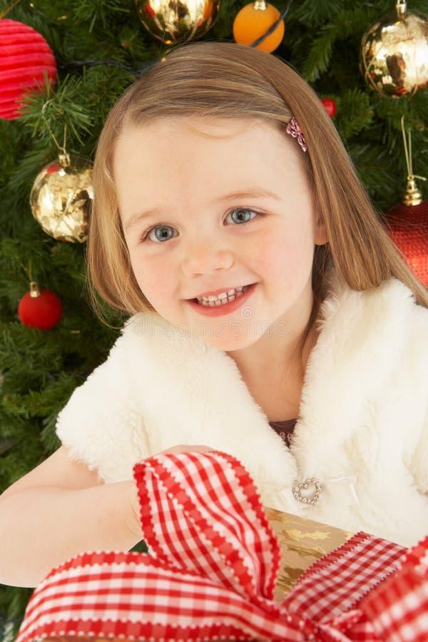 Regalo de la explotación agrícola de la chica joven delante del árbol de navidad imagen de archivo