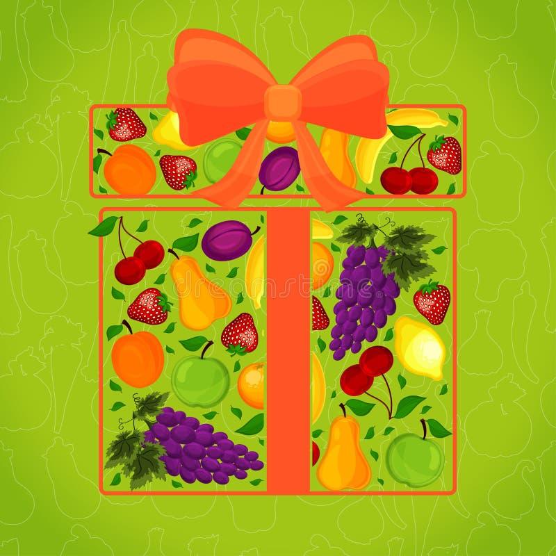 Regalo de la fruta adornada con el A. ilustración del vector
