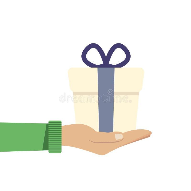 Regalo de la mano o presente que se sostiene o de ofrecimiento Ejemplo del vector en estilo plano stock de ilustración